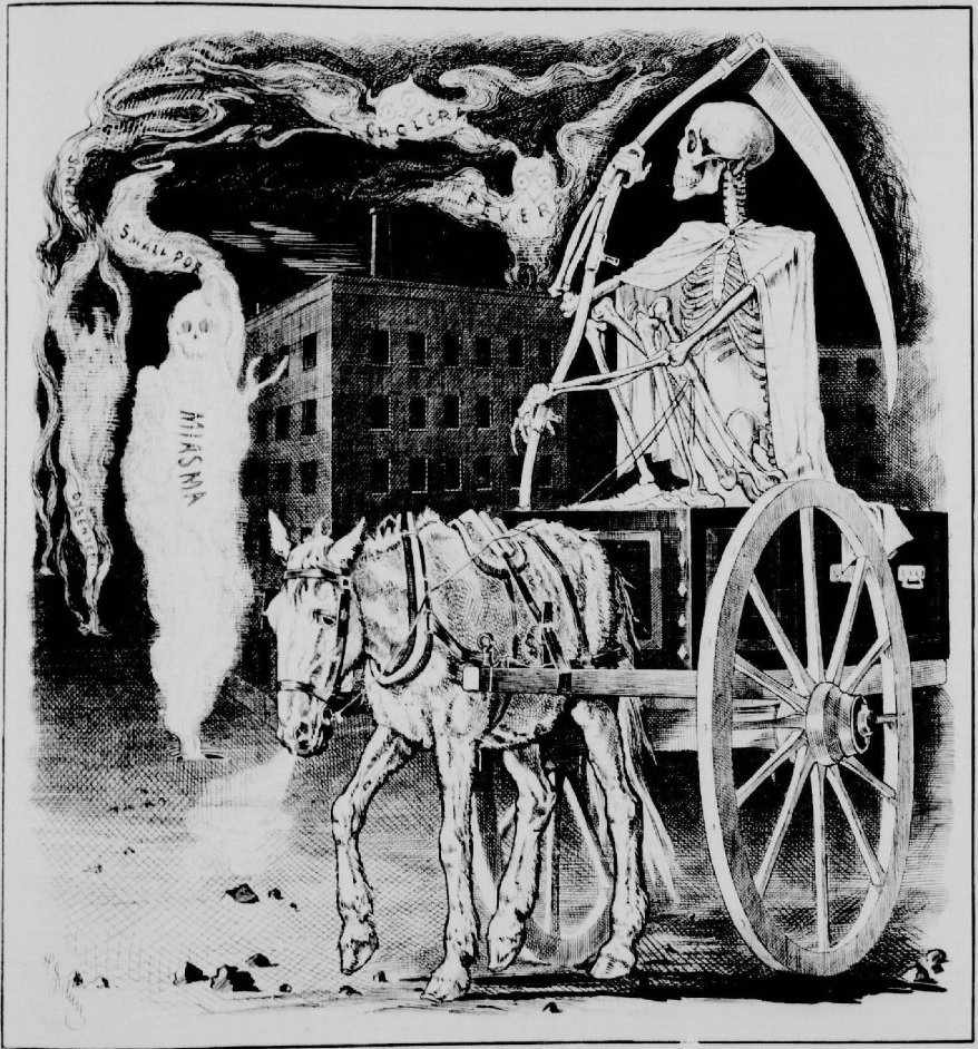 Henri Julien. Death waiting on the effects of Pestilence, Smallpox, Choiera and Fever in Montreal. Canadian Illustrated News, 5 juin 1875, p. 1.